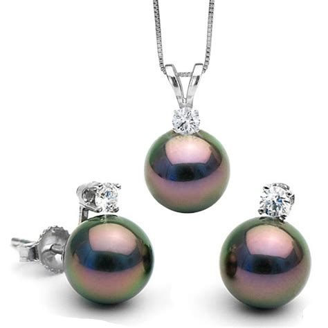 pearl and pendant necklace black tahitian pearl and glimmer pendant and