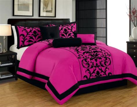 bedroom pink and black hot pink and black print comforter bedding sets for 14375 | 51hij%2BC8W7L