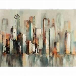 Tableau Peinture Sur Toile : tableau urbain abstrait 90x120 peinture sur toile aspect brillant ~ Teatrodelosmanantiales.com Idées de Décoration
