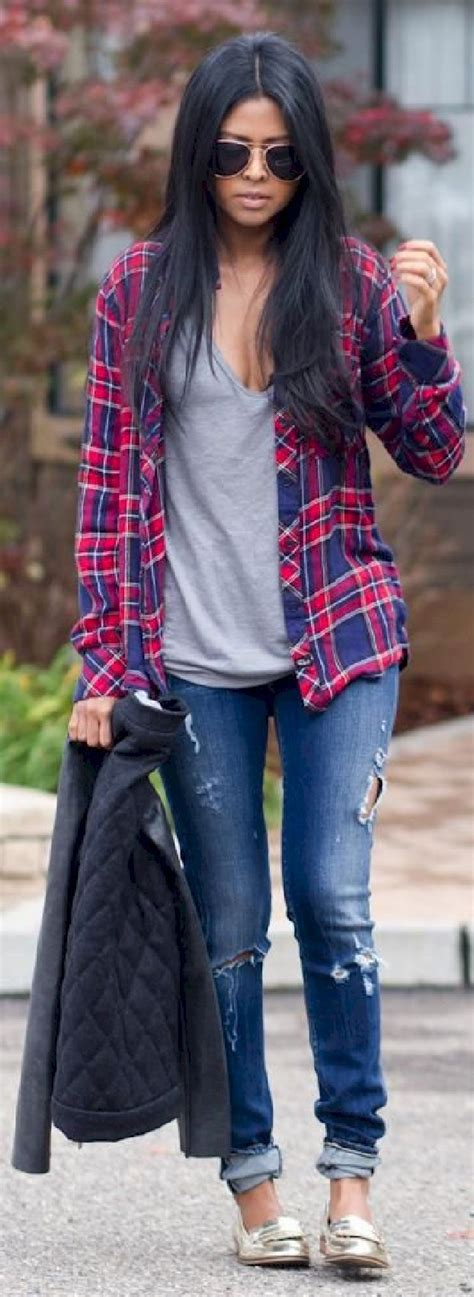 The 25+ best Plaid shirt outfits ideas on Pinterest | Plaid fall outfits Red plaid shirt outfit ...