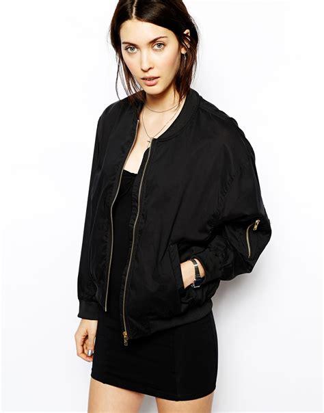 lyst cheap monday bomber jacket in black
