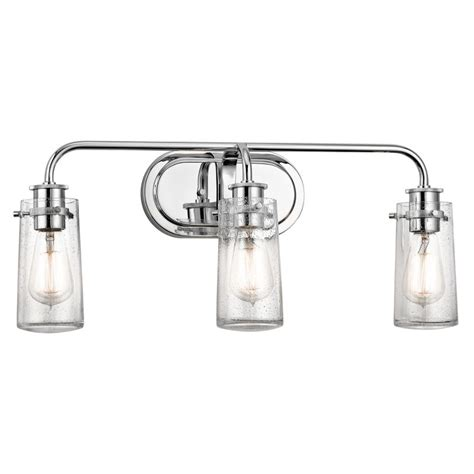 kichler 45459ch chrome braelyn 3 light 24 quot wide vanity light bathroom fixture with seedy glass