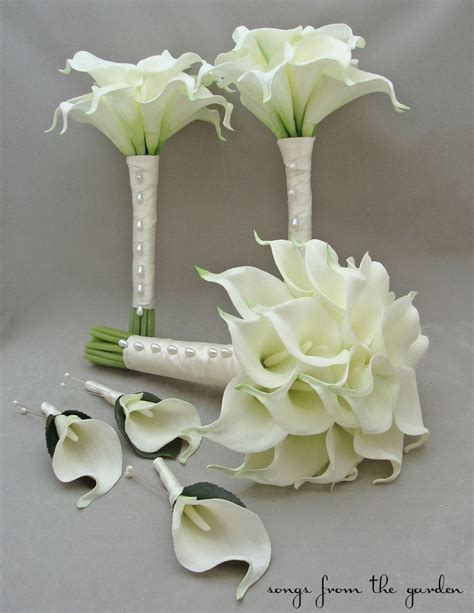 real touch calla lily bridal bridesmaid bouquets white