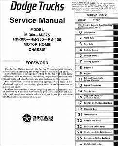 1973 Dodge Motor Home Chassis Repair Shop Manual Original M