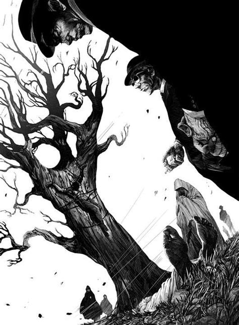 Dark Ominous Etchings Black White Illustrations