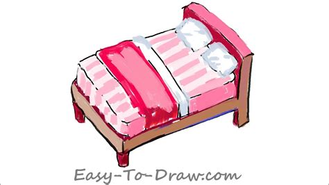 How To Draw A Cartoon Pink Bed With Pillows