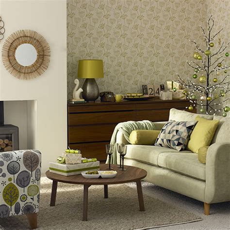 Olive Green Christmas Living Room Decorating Ideal Home
