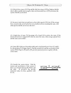 Physics 240  Worksheet 06-acceleration And Free Body Diagrams Worksheet For 10th