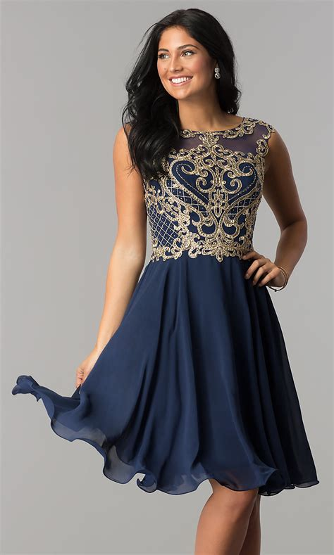 Homecoming Knee-Length Dress with Embroidery -PromGirl