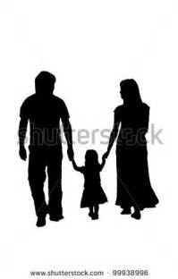 Silhouette family, woman, man, baby girl. Loving people