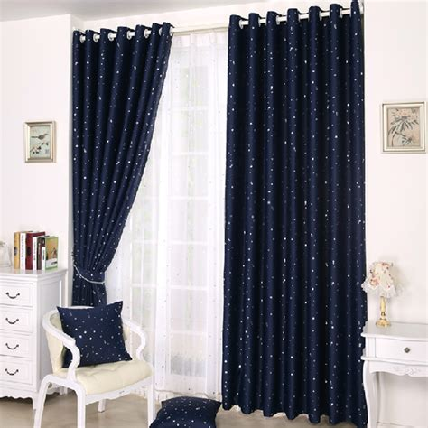 beautiful blue curtains with patterns of