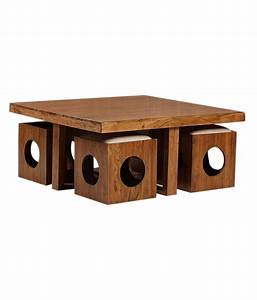 Solid Wood Table with 4 Stools - Buy Solid Wood Table with