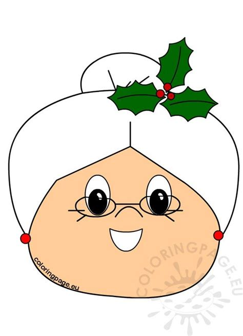 cute face christmas  claus printable coloring page