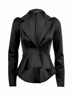 Womens Ladies Peplum Frill Coat Office Jacket Blazer UK 8 ...