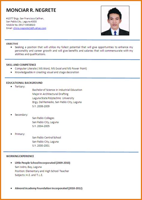Hd Image Of Resume Format format of cv for teachers simple resume template