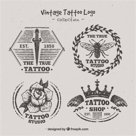 variety  hand drawn tattoo logos vector