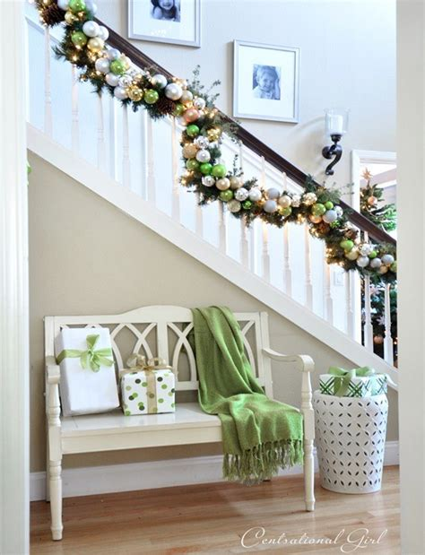 lighted garland for staircase 30 staircase decoration ideas to diy this year 7022
