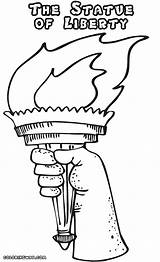 Liberty Statue Coloring Pages Drawing Template Torch Print Colorings Getdrawings sketch template