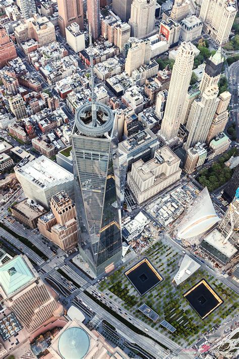 - Aerial of One World Trade Center and 9/11 memorial, New ...