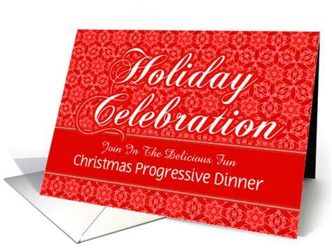red lace christmas progressive dinner custom invitation