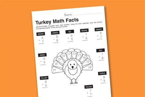 Worksheet Wednesday Turkey Math Facts  Paging Supermom