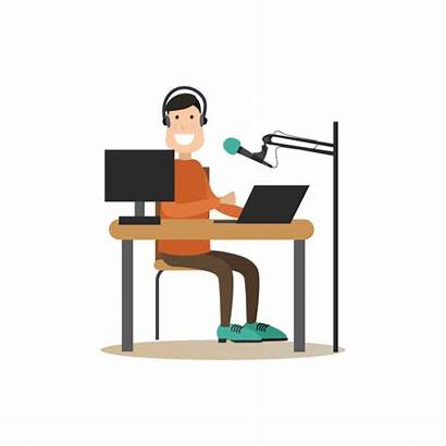 Radio Studio Vector Illustrations Clip