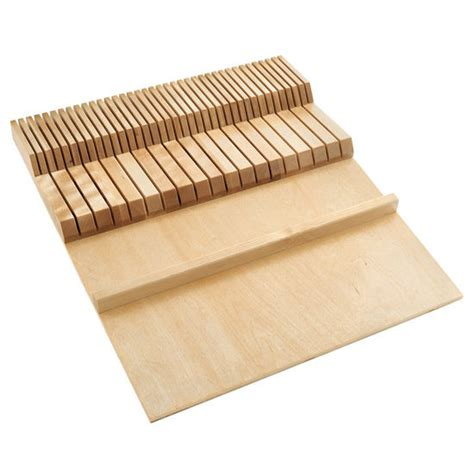 kitchen knife drawer organizer utensil storage cut to size insert maple or walnut wood 5288