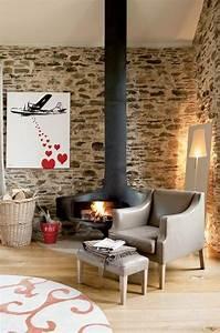Feuerfeste Wandverkleidung Hinter Kaminofen : natursteinwand im wohnzimmer kaminofen leseecke ~ Lizthompson.info Haus und Dekorationen