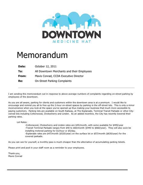 how to write a memo to staff parking memorandum