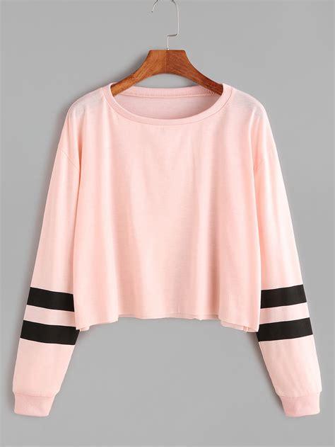 pink varsity striped sleeve crop t shirtfor women romwe