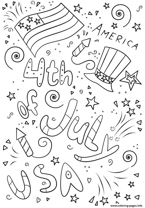 4th Of July Doodle Printable Coloring Pages Printable