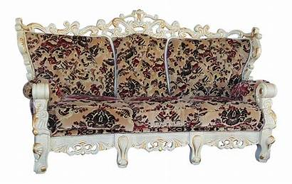 Victorian Sofa Velvet Floral Wood Couch Carved