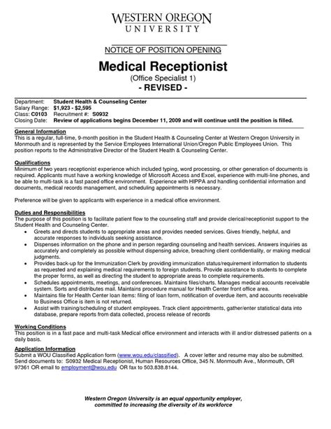 medical receptionist resume   experience http