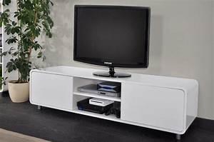 Meuble Bas Blanc Laqué : meuble tv bas blanc laque ~ Edinachiropracticcenter.com Idées de Décoration