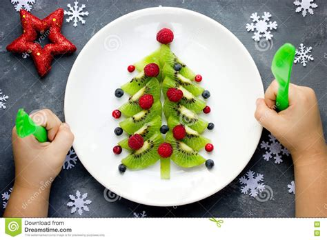 funny edible christmas tree for kids breakfast or dessert