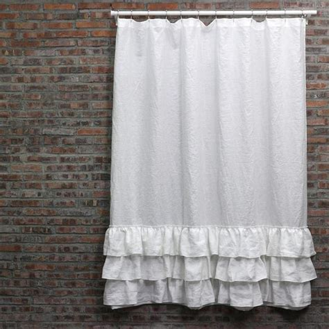white ruffle shower curtain vintage washed layered ruffles linen shower curtain