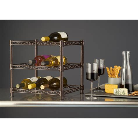 countertop wine rack hdx 3 shelf countertop wire wine rack in antique bronze