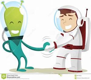Alien Handshake With Astronaut Cartoon Stock Illustration ...