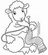 Coloring Knitting Sheep Dulemba Tuesday Crochet Knit Patterns Head Embroidery sketch template
