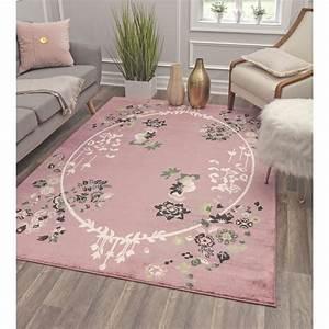 Southside Floral Transitional Pink  Green  Black Area Rug