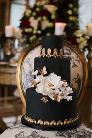 Black And Gold Elegant Birthday Cakes