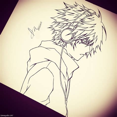 anime cool boy drawing cool anime boy with headphones drawing anime boy w