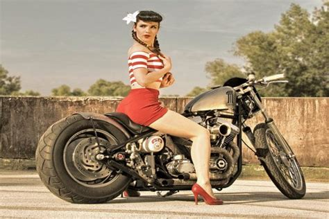 Ratrod Harley Davidson Motorcycle Rockabilly Retro Sexy