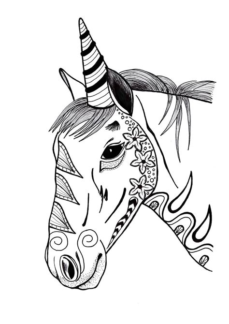 colorful unicorn adult coloring page favecraftscom