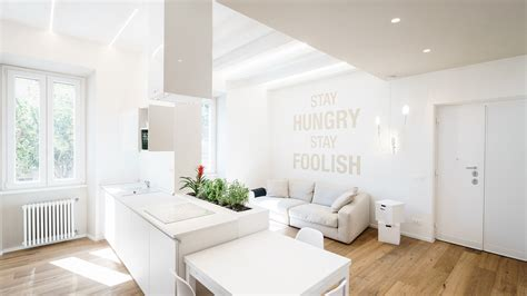 White Apartment by Minimalist Apartment With All White Interior In Rome By