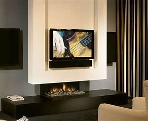 Minimalist fireplace design with tv set
