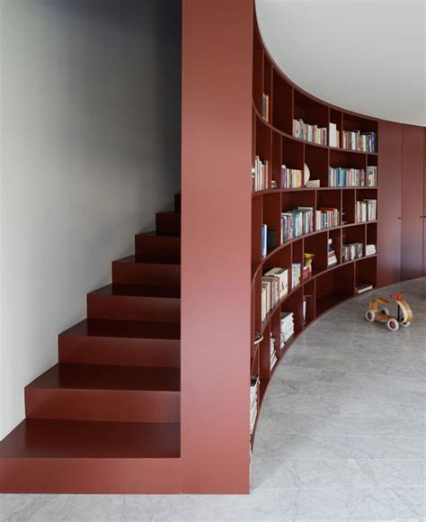 Bookcase Stairs by Curved L Shape House Interiorzine