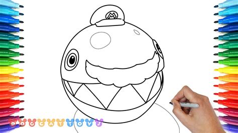 draw super mario odyssey chain chomp  drawing coloring pages  kids youtube