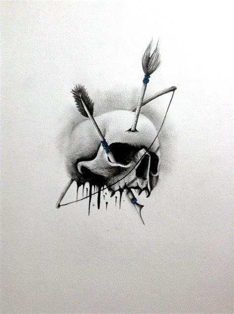tattoo sketch  bow arrow  skull cover