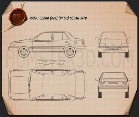 isuzu gemini pf sedan  blueprint humd
